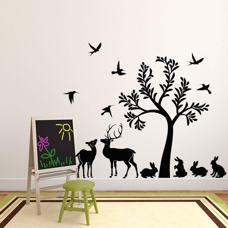 sticker l 39 arbre et ses animaux stickers animaux oiseaux ambiance sticker. Black Bedroom Furniture Sets. Home Design Ideas