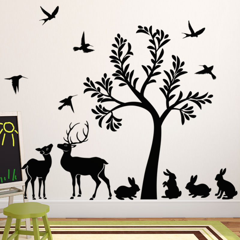 sticker l 39 arbre et ses animaux stickers animaux oiseaux ambiance sticker. Black Bedroom Furniture Sets. Home Design Ideas