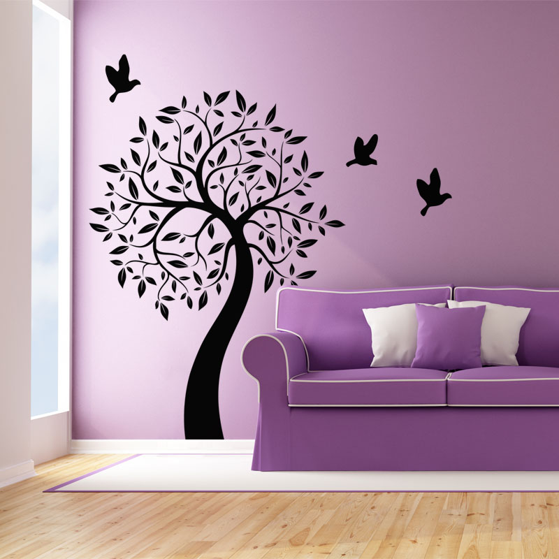 sticker l 39 arbre et ses oiseaux stickers nature arbres ambiance sticker. Black Bedroom Furniture Sets. Home Design Ideas