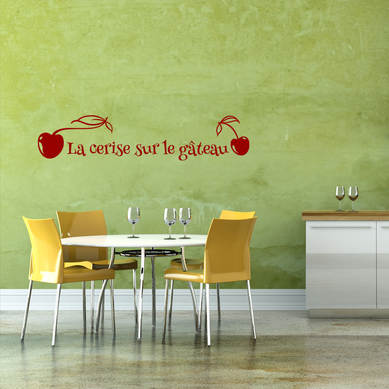 Sticker la cerise sur le gateau stickers citations - La cerise sur la deco ...