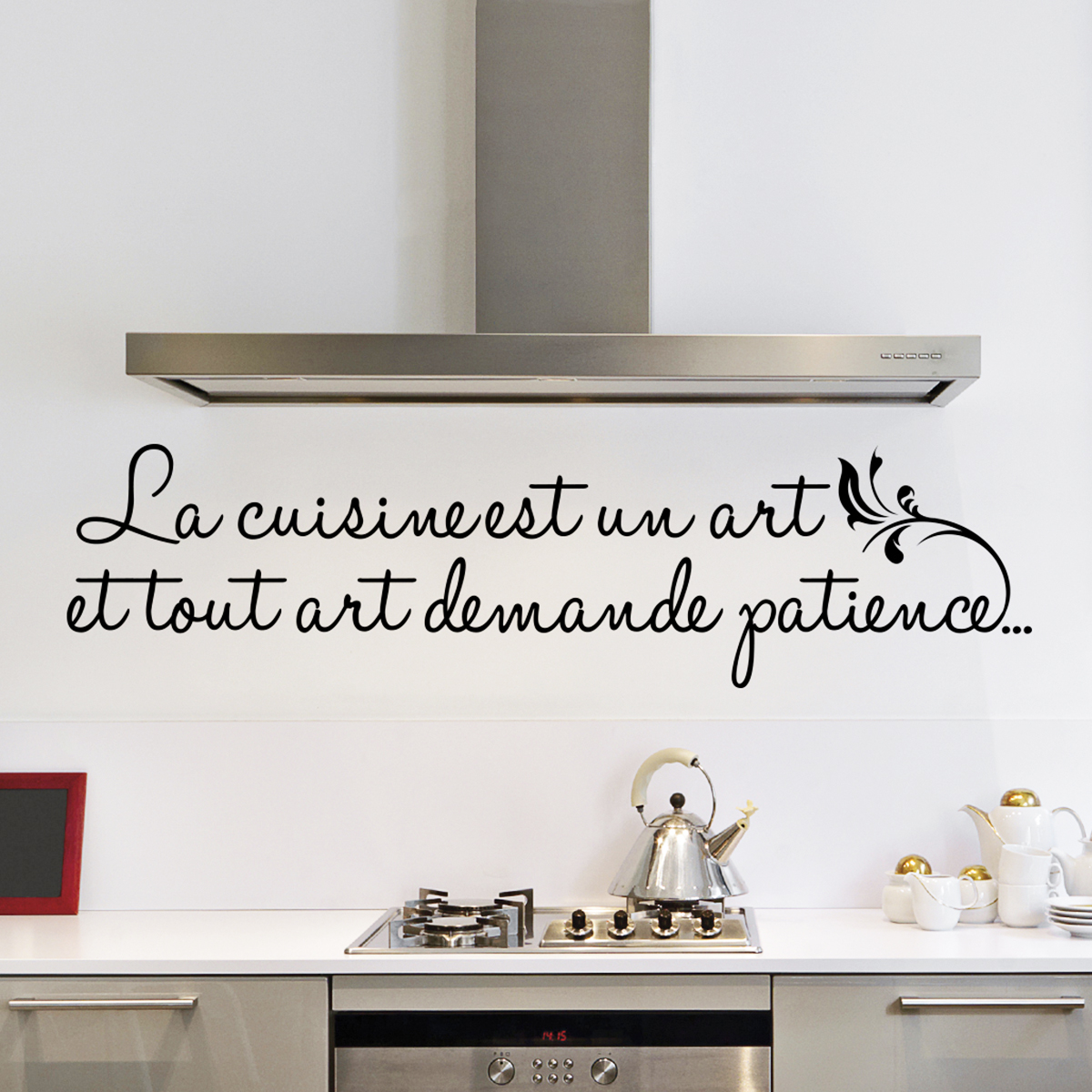 sticker pour cuisine sticker cuisine gourmandise citation stickers muraux pour la cuisine. Black Bedroom Furniture Sets. Home Design Ideas