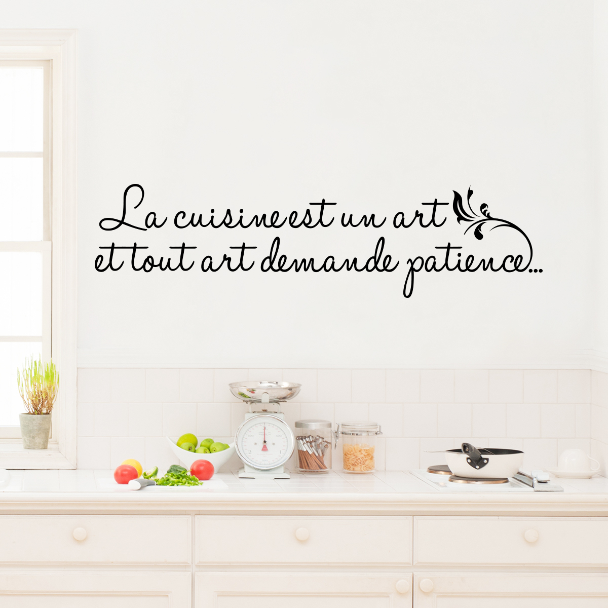 sticker la cuisine est un art stickers citations fran ais ambiance sticker. Black Bedroom Furniture Sets. Home Design Ideas