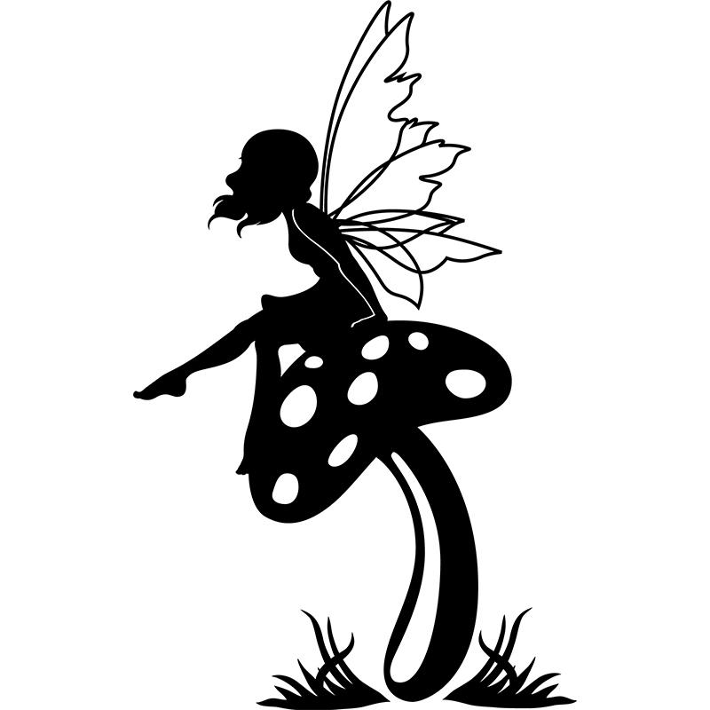 Sticker la f e assise sur le champignon stickers filles - Fee clochette assise ...