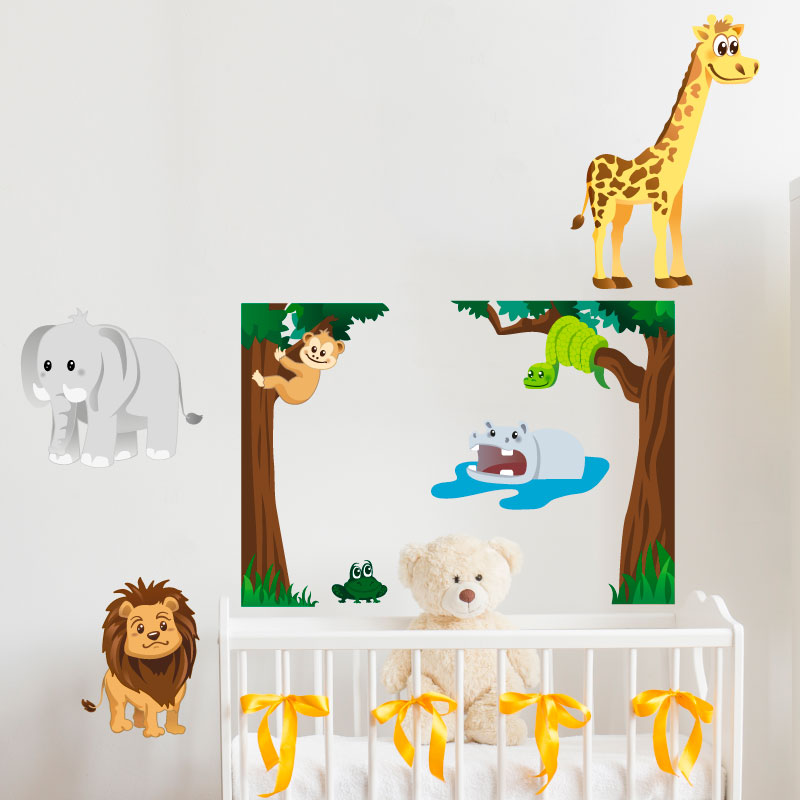 sticker la grenouille parmis les animaux de la jungle stickers animaux animaux de la jungle. Black Bedroom Furniture Sets. Home Design Ideas