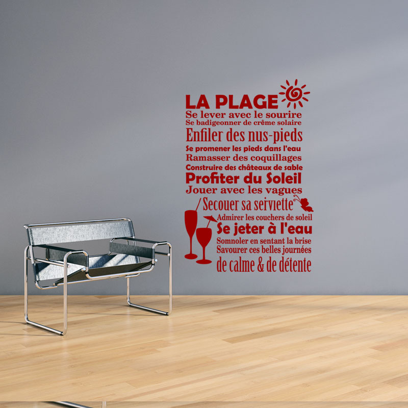 Sticker la plage se lever avec le sourir stickers for Plage stickers muraux