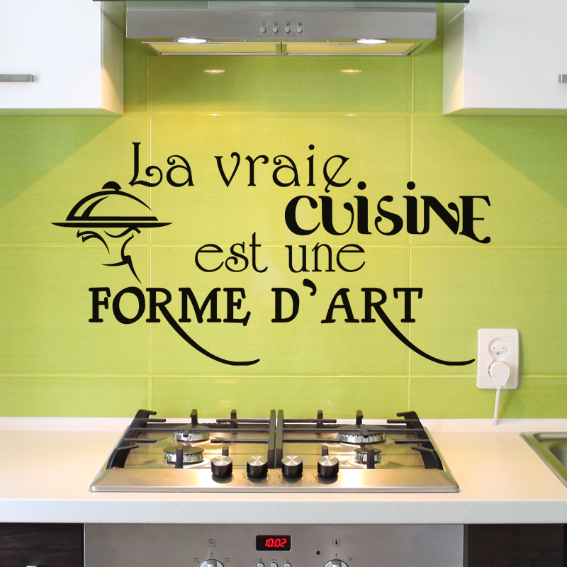 sticker la vraie cuisine est une forme d 39 art design stickers citations fran ais ambiance sticker. Black Bedroom Furniture Sets. Home Design Ideas
