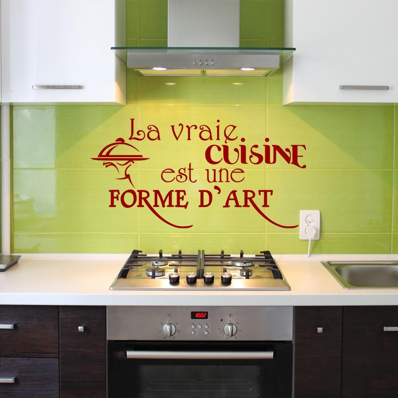 Sticker la vraie cuisine est une forme d 39 art design - Stickers citations cuisine ...