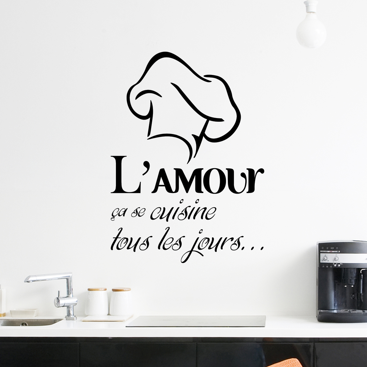 sticker l amour a se cuisine stickers citations fran ais ambiance sticker. Black Bedroom Furniture Sets. Home Design Ideas