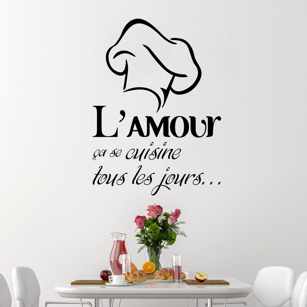 Sticker l amour a se cuisine stickers citations - Sticker mural cuisine ...