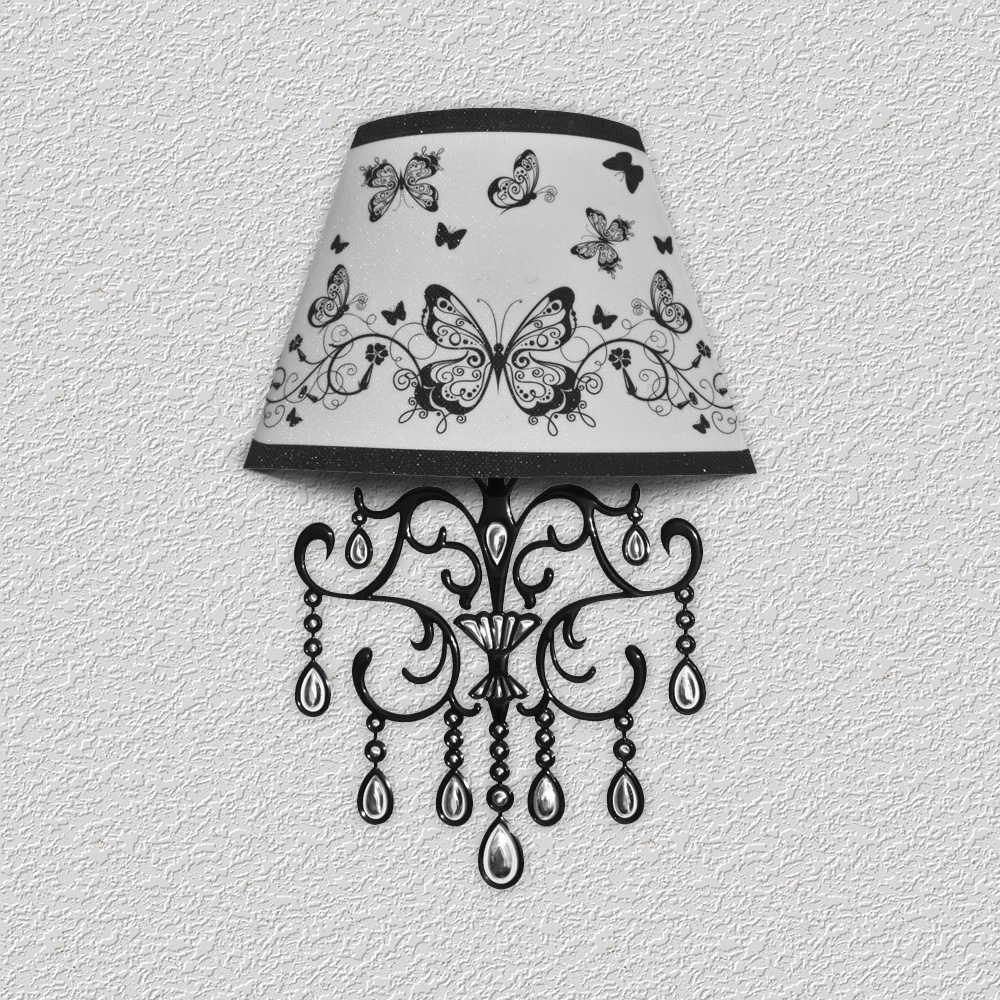 Sticker lampe 3d led papillons noirs et blancs ambiance for Lampe ambiance et style