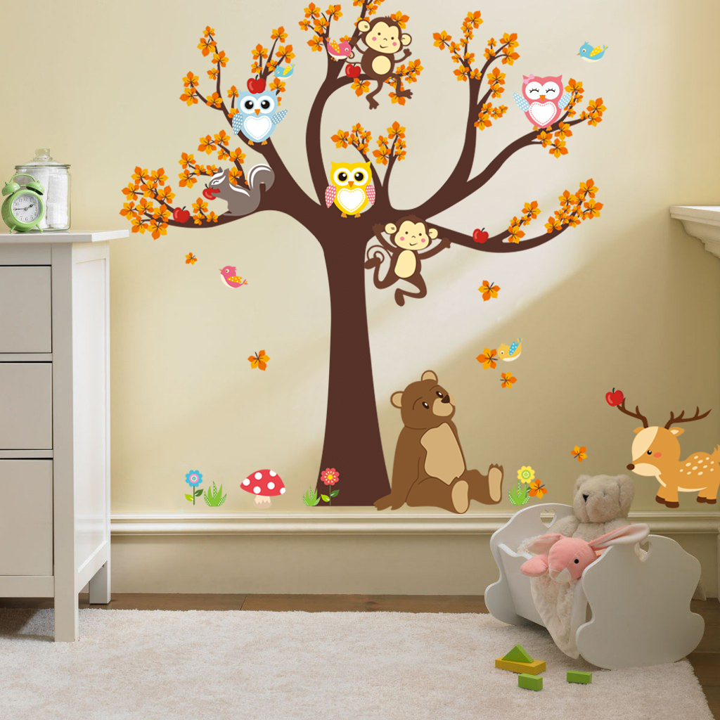 sticker l arbre avec les hiboux et animaux de la for t. Black Bedroom Furniture Sets. Home Design Ideas