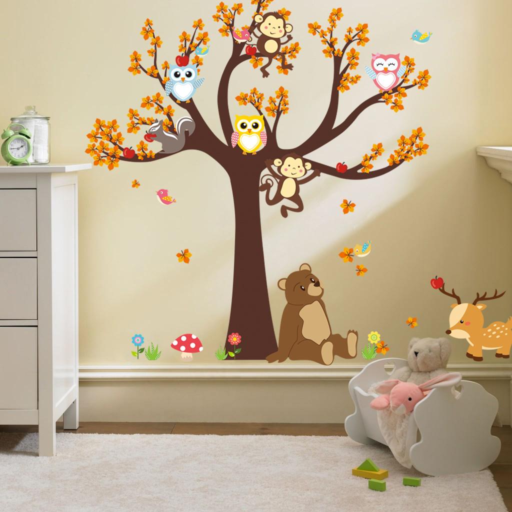 Sticker l arbre avec les hiboux et animaux de la for t for Stickers muraux