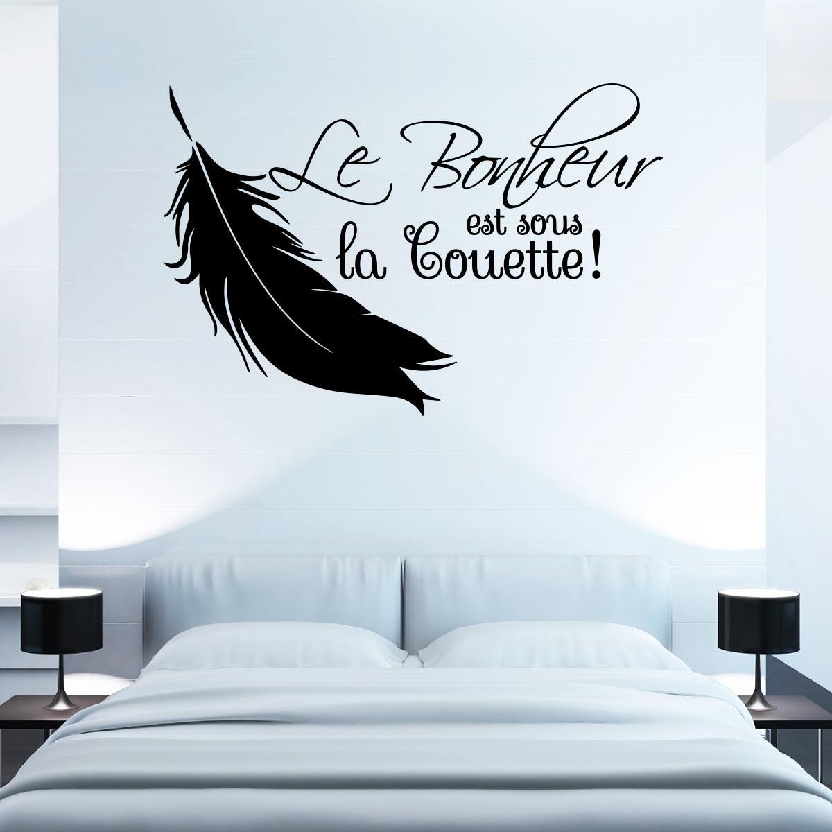 Sticker Le Bonheur Est Sous La Couette Stickers Citations Fran Ais