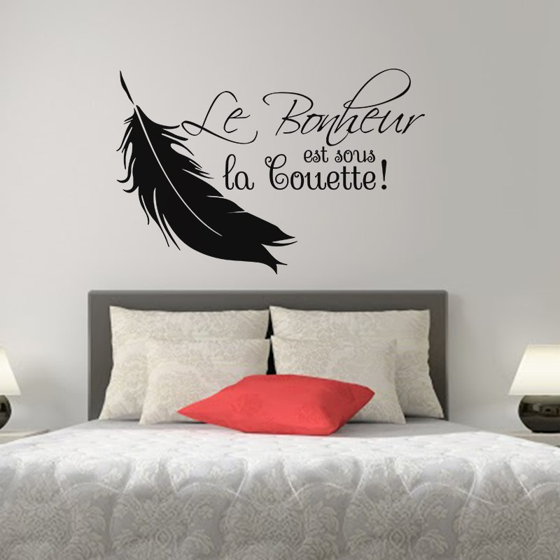 sticker le bonheur est sous la couette stickers. Black Bedroom Furniture Sets. Home Design Ideas