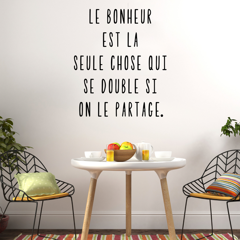 Sticker le bonheur se partage stickers citations for Stickers muraux citations chambre