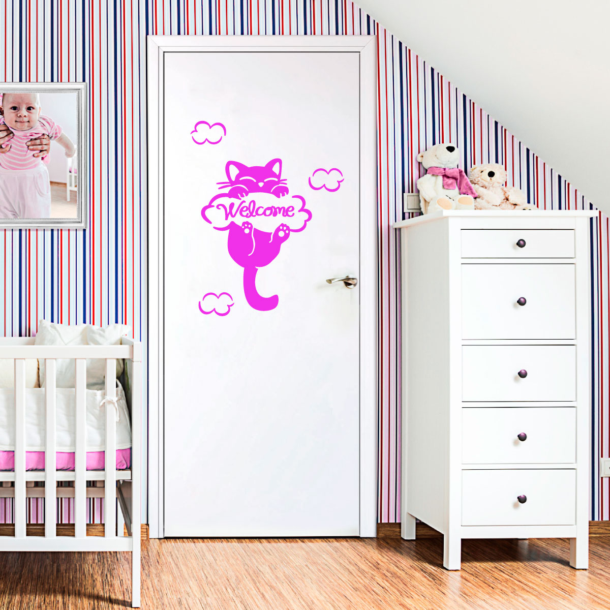 sticker le chat dans les nuages stickers chambre ado fille ambiance sticker. Black Bedroom Furniture Sets. Home Design Ideas