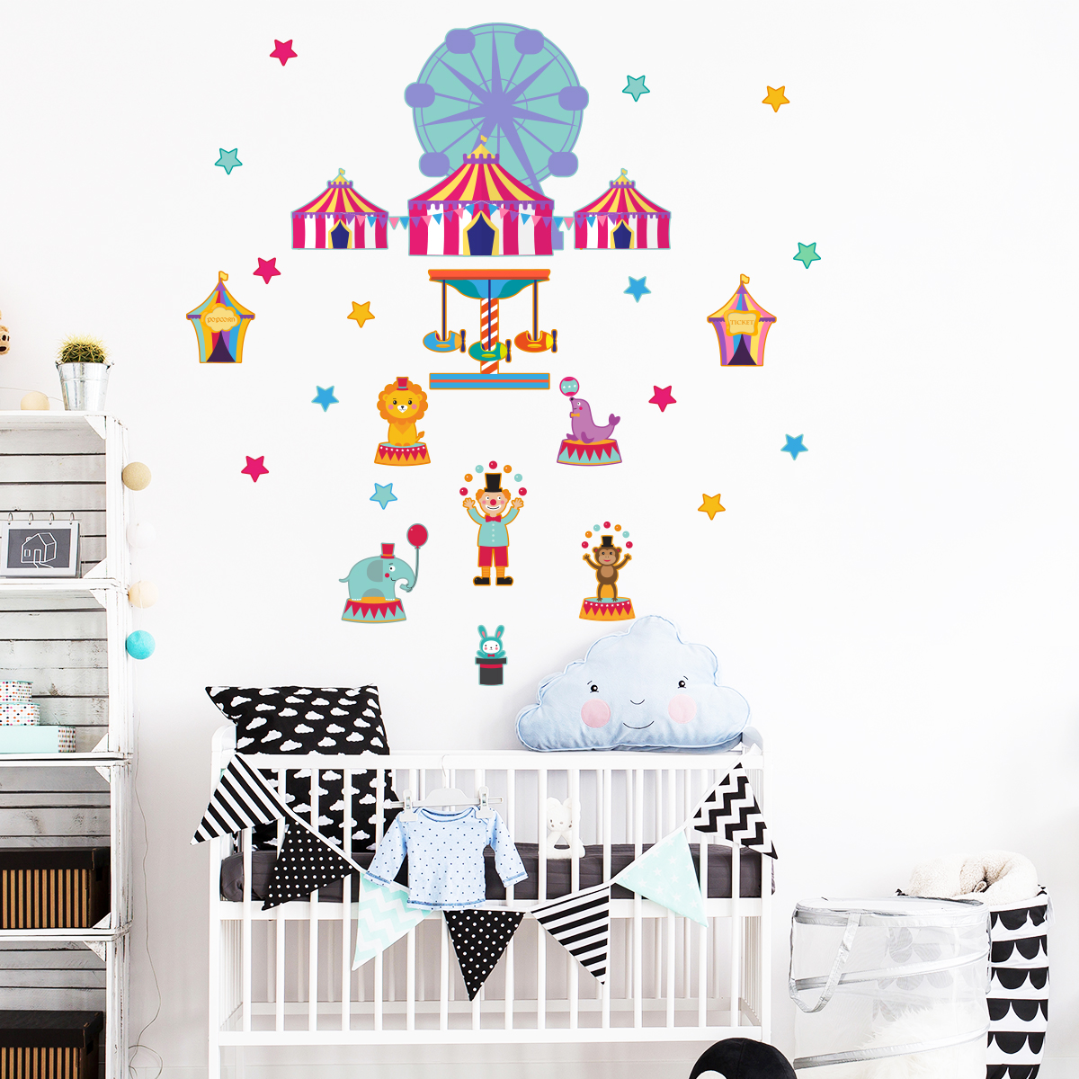 sticker le cirque et ses animaux stickers animaux animaux de la jungle ambiance sticker. Black Bedroom Furniture Sets. Home Design Ideas