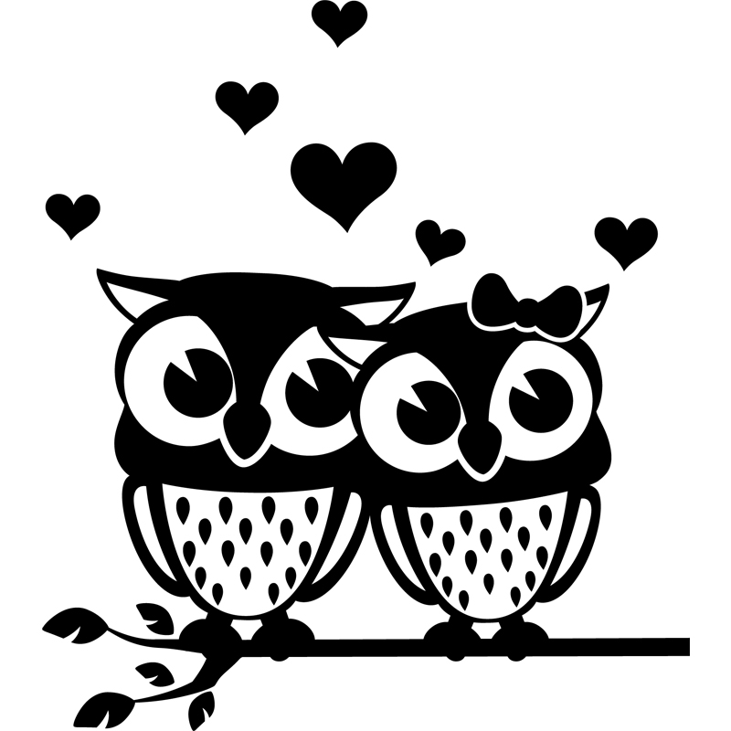 sticker le couple de hiboux stickers animaux oiseaux ambiance sticker. Black Bedroom Furniture Sets. Home Design Ideas