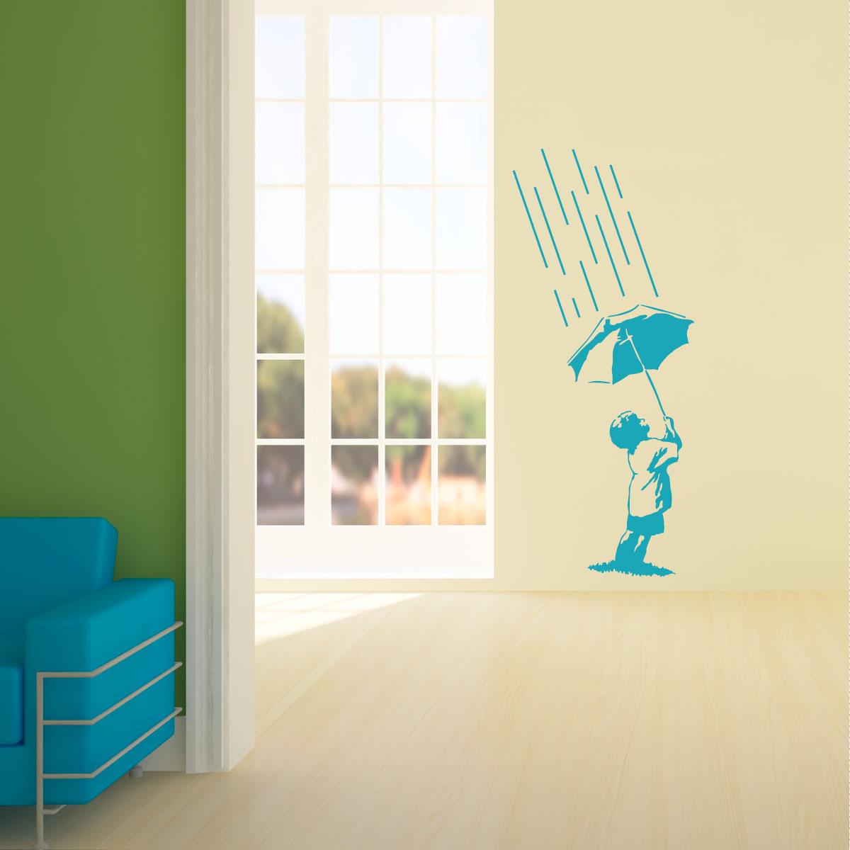 Sticker l enfant sous la pluie stickers salle de bain for Stickers salle de bain enfant
