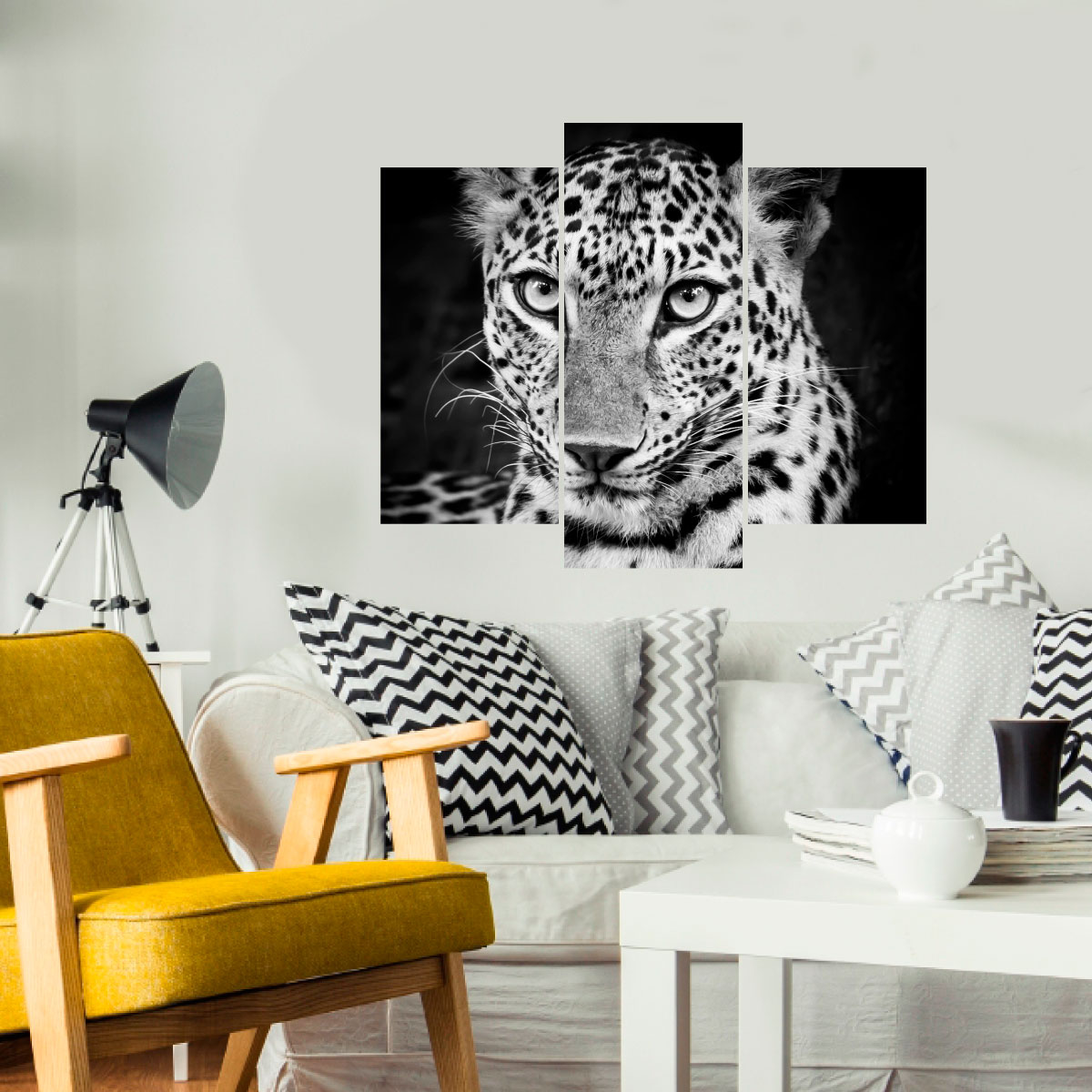 sticker l opard en noir et blanc stickers animaux. Black Bedroom Furniture Sets. Home Design Ideas