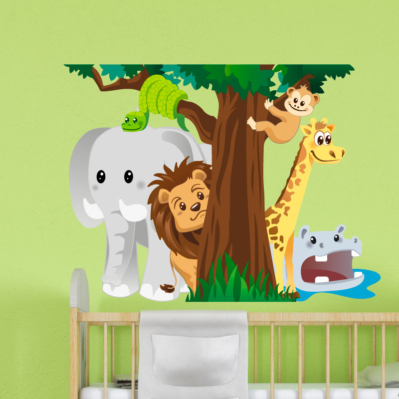 sticker les animaux de la jungle jouant cache cache stickers nature arbres ambiance sticker. Black Bedroom Furniture Sets. Home Design Ideas