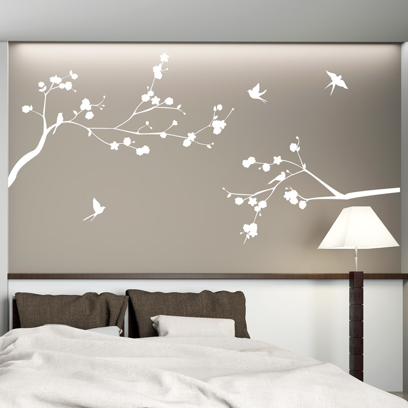 sticker les branches fleuries et ses oiseaux stickers nature fleurs ambiance sticker. Black Bedroom Furniture Sets. Home Design Ideas
