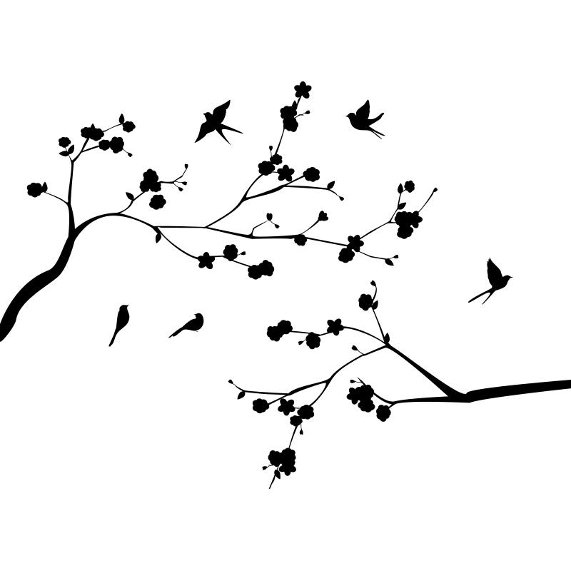 Sticker les branches fleuries et ses oiseaux stickers - Branche arbre dessin ...