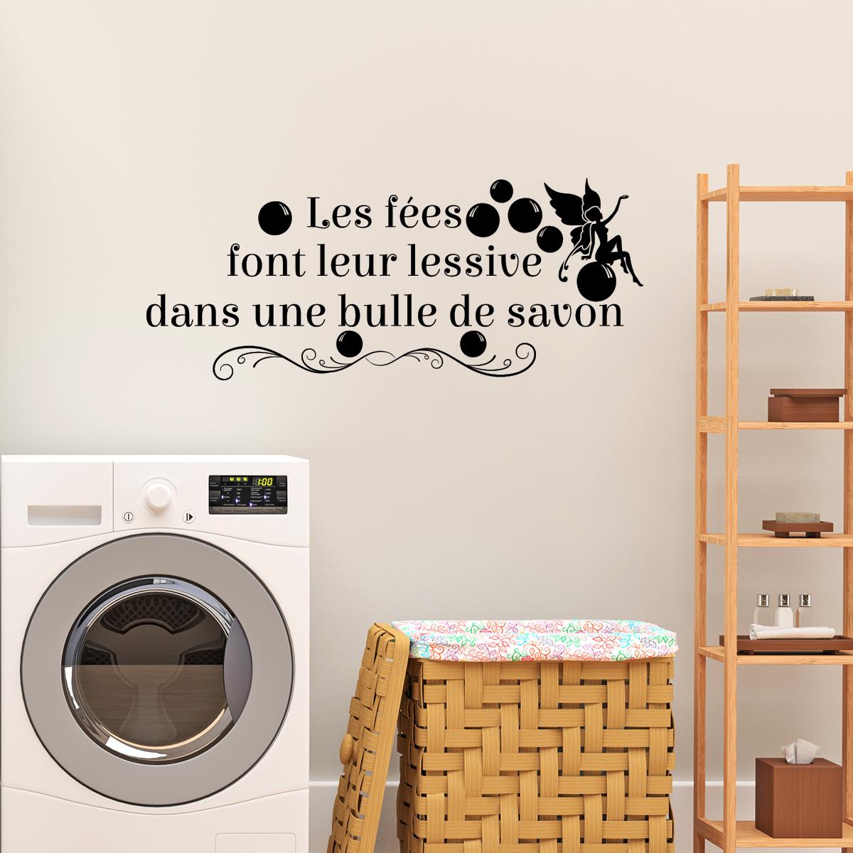 sticker les f es font leur lessive dans une bulle de savon stickers electrom nager machine. Black Bedroom Furniture Sets. Home Design Ideas