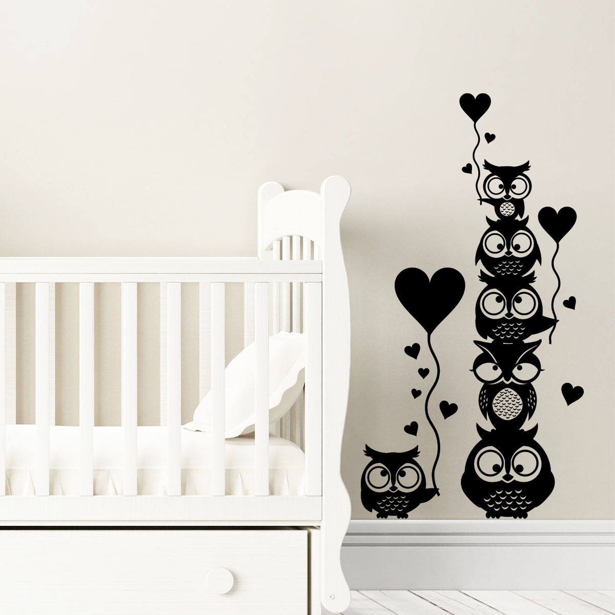 sticker les hiboux de l 39 amour stickers animaux oiseaux ambiance sticker. Black Bedroom Furniture Sets. Home Design Ideas