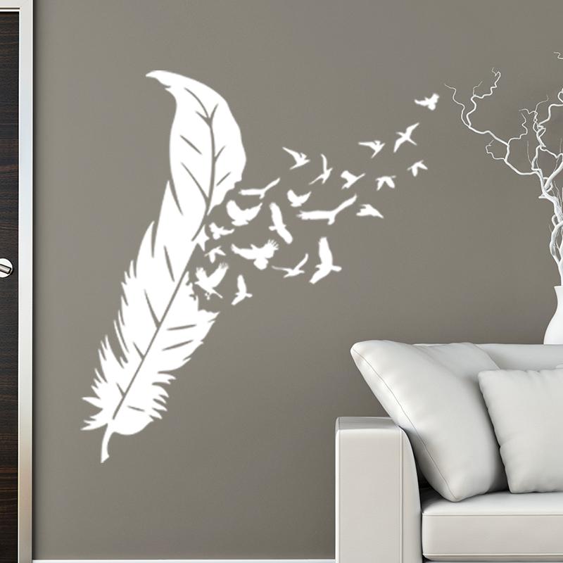 sticker les oiseaux et leurs plumes stickers animaux oiseaux ambiance sticker. Black Bedroom Furniture Sets. Home Design Ideas