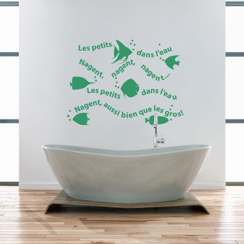 sticker les petits poissons dans l 39 eau stickers nature oc an ambiance sticker. Black Bedroom Furniture Sets. Home Design Ideas