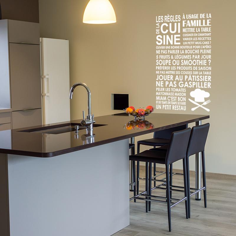 sticker les r gles de la cuisine toque stickers citations fran ais ambiance sticker. Black Bedroom Furniture Sets. Home Design Ideas