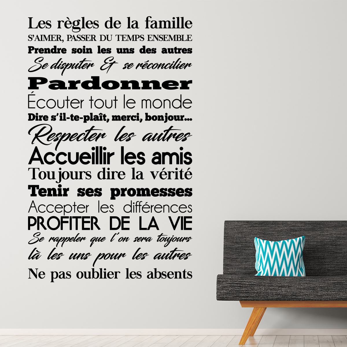 sticker les r gles de la famille design stickers. Black Bedroom Furniture Sets. Home Design Ideas