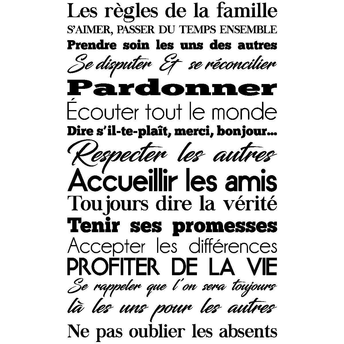 sticker les r gles de la famille design stickers citations fran ais ambiance sticker. Black Bedroom Furniture Sets. Home Design Ideas