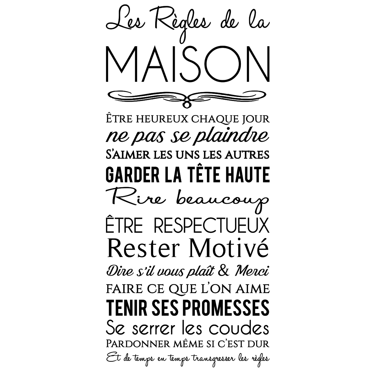 sticker les r gles de la maison design stickers citations fran ais ambiance sticker. Black Bedroom Furniture Sets. Home Design Ideas
