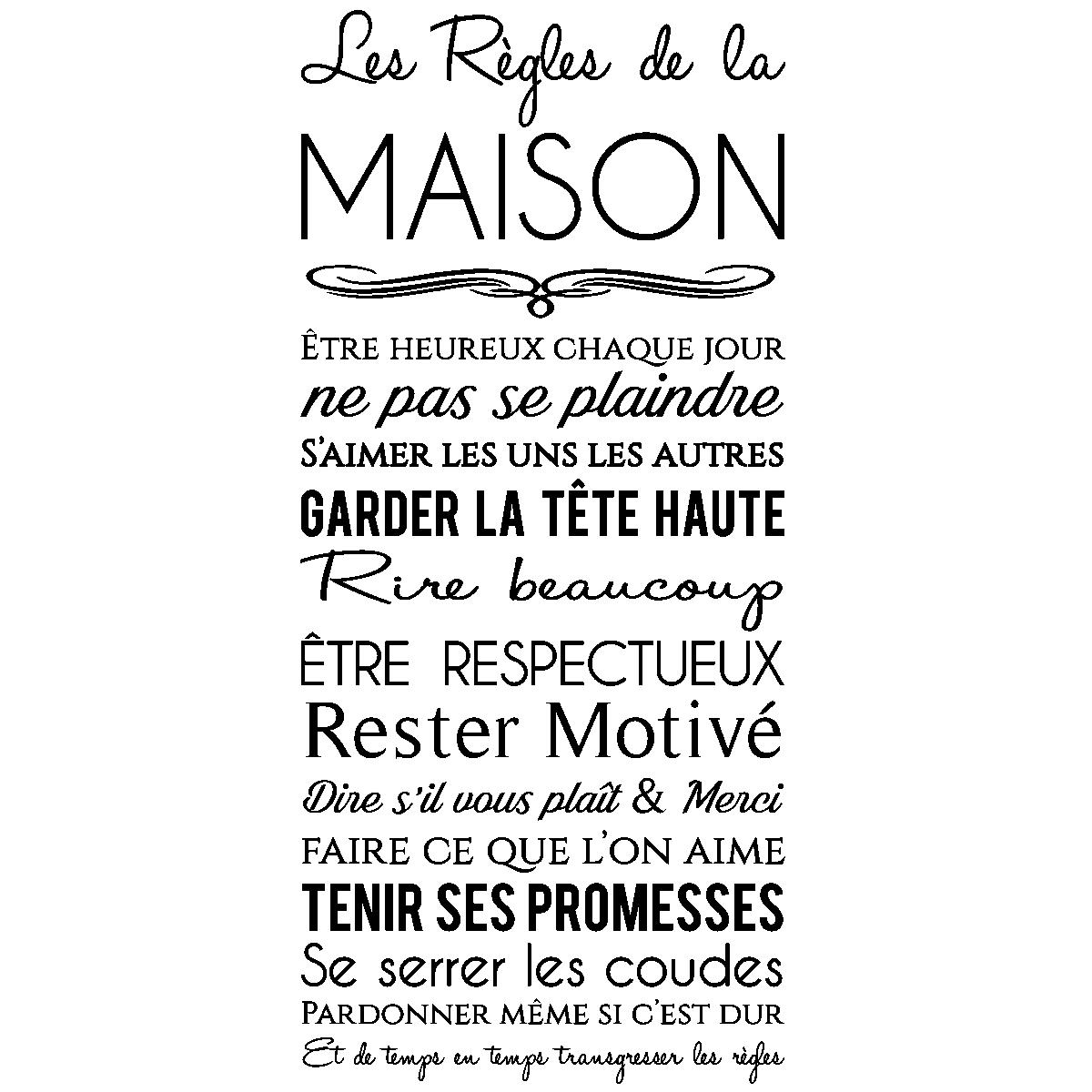Stickers Muraux Citations   Sticker Les Règles De La Maison   Design    Ambiance Sticker