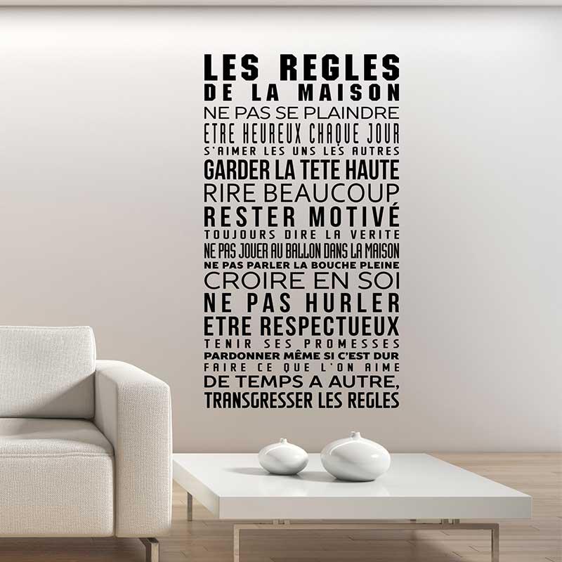 Sticker les r gles de la maison stickers citations - Stickers muraux les regles de la maison ...