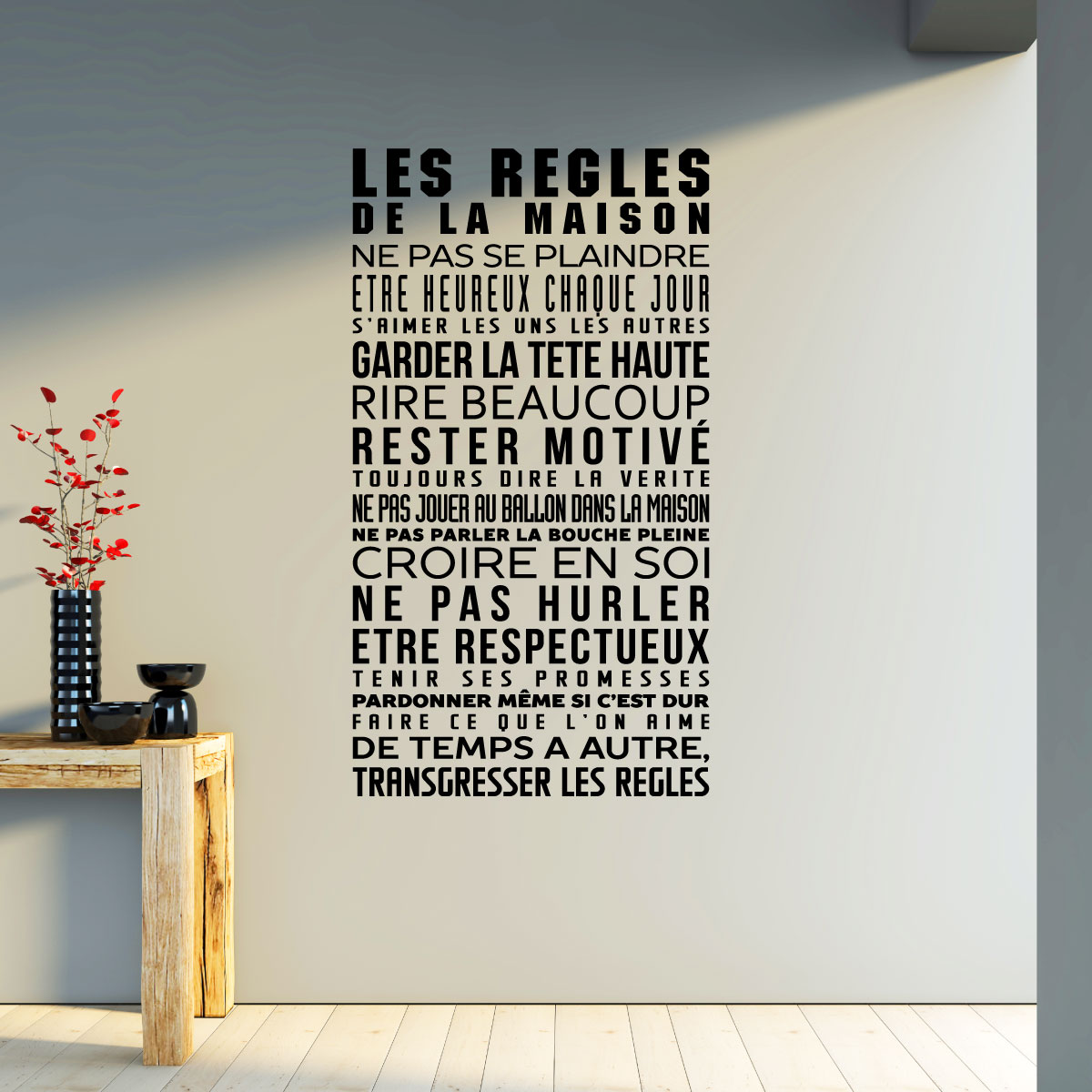 sticker les r gles de la maison stickers citations fran ais ambiance sticker. Black Bedroom Furniture Sets. Home Design Ideas