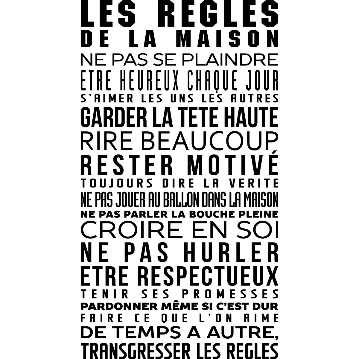 Sticker Les R Gles De La Maison Stickers Citations