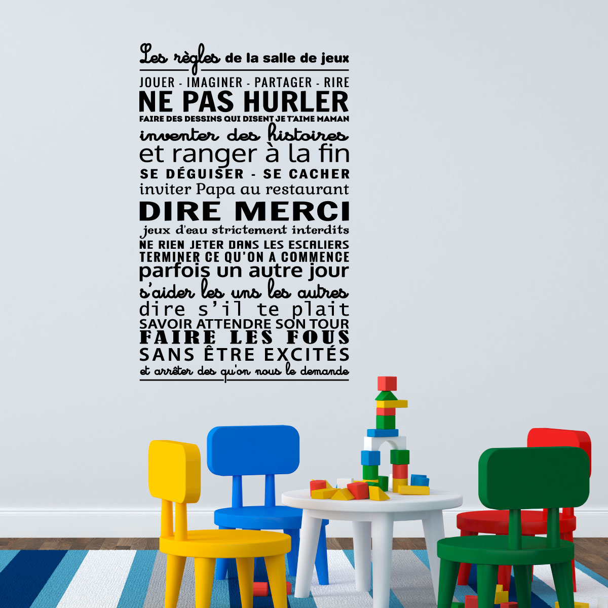 sticker les r gles de la salle de jeux stickers citations fran ais ambiance sticker. Black Bedroom Furniture Sets. Home Design Ideas