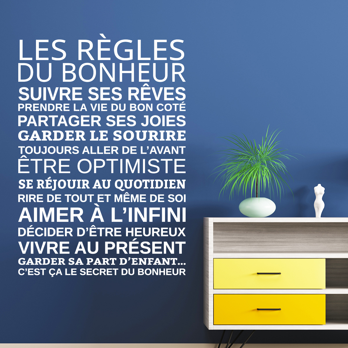 sticker les r gles du bonheur stickers citations. Black Bedroom Furniture Sets. Home Design Ideas
