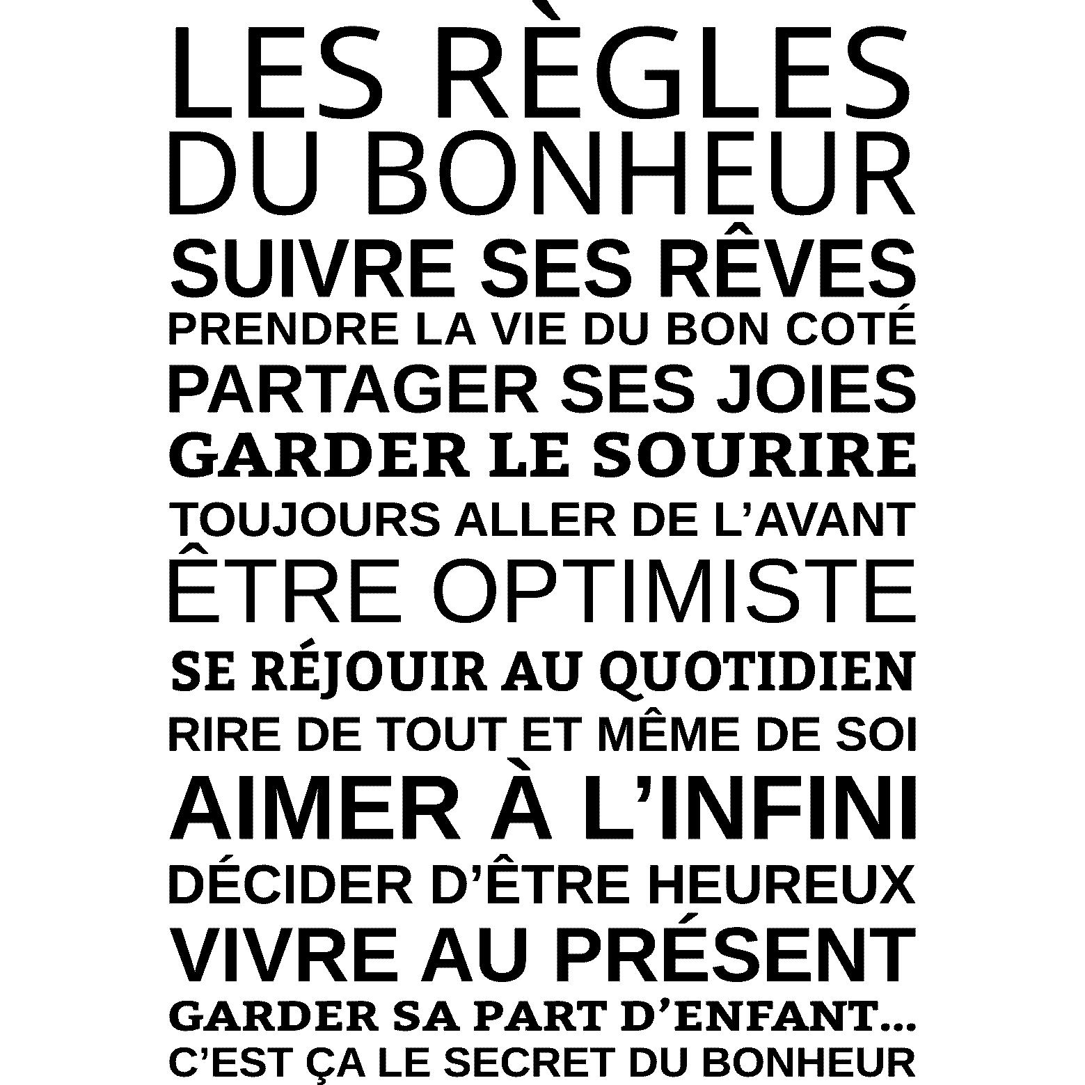Sticker les r gles du bonheur stickers citations - La grange du bien etre vendegies au bois ...