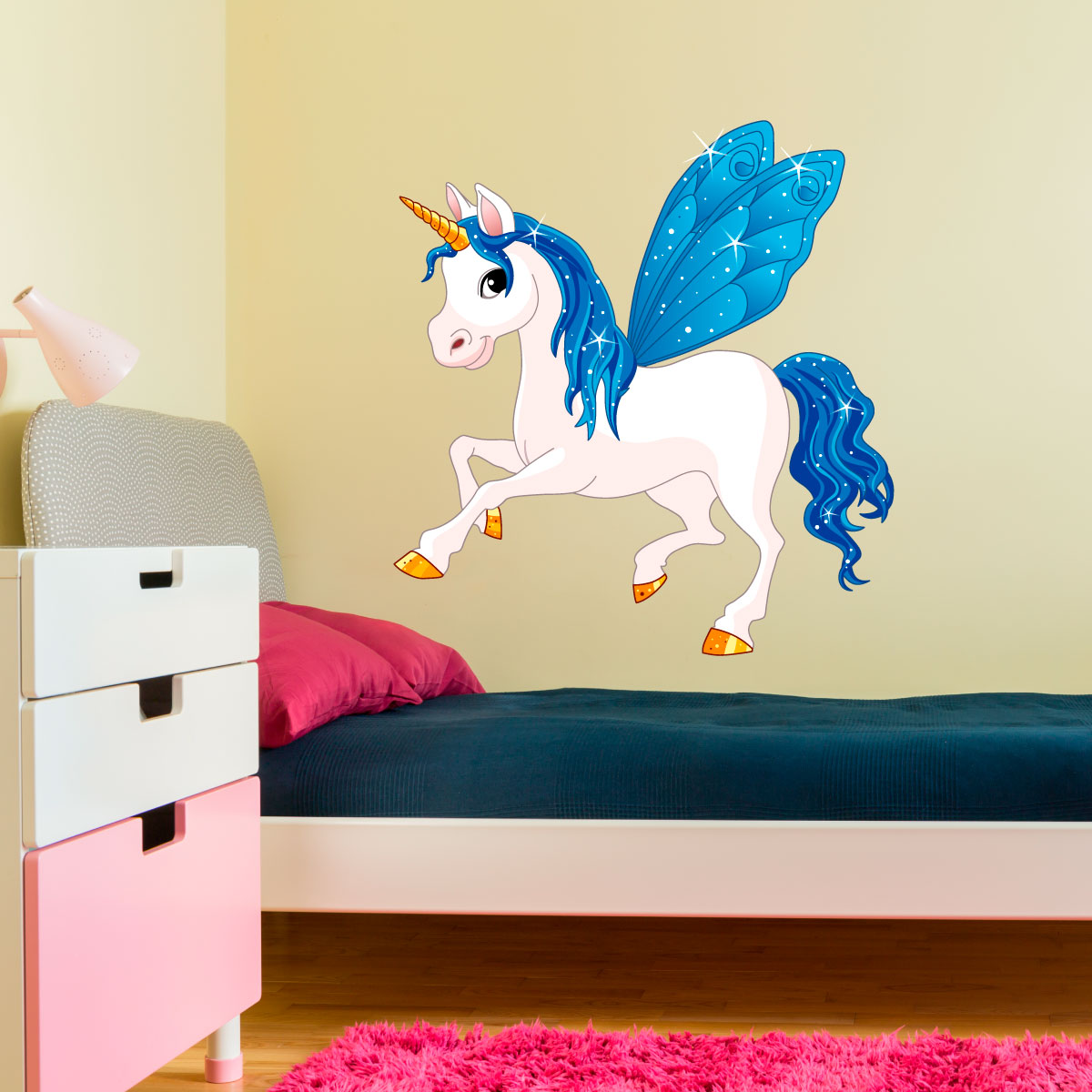 sticker licorne f erique stickers b b s fille ambiance sticker. Black Bedroom Furniture Sets. Home Design Ideas