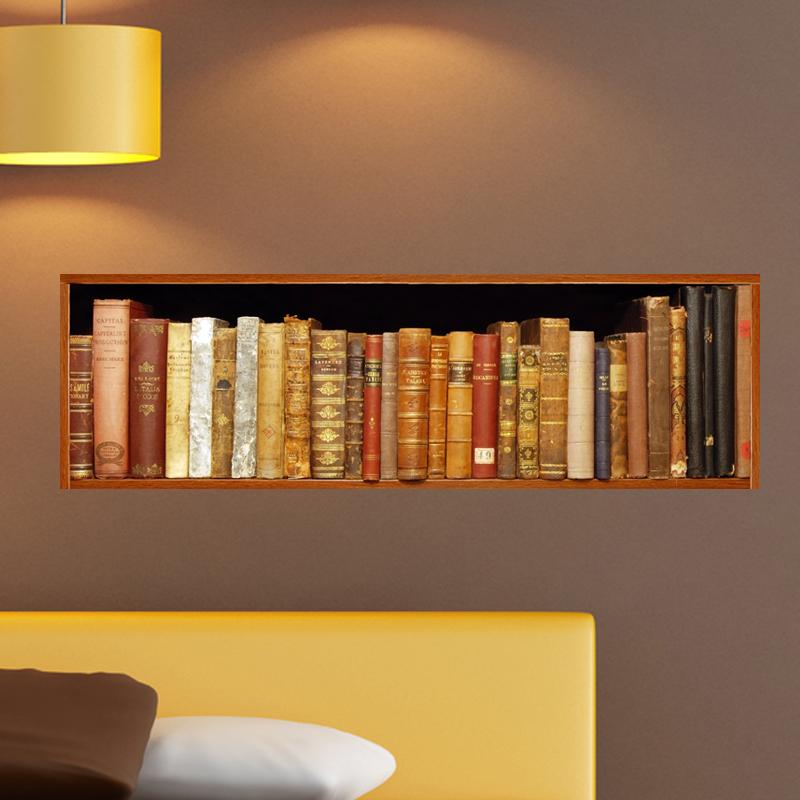 sticker trompe l 39 oeil livres anciens. Black Bedroom Furniture Sets. Home Design Ideas