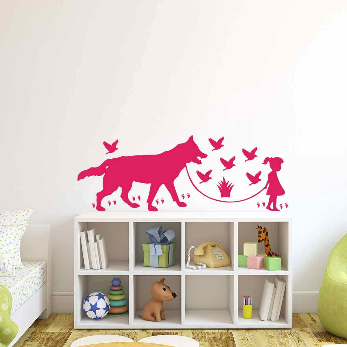 sticker loup les oiseaux et une petite fille stickers animaux oiseaux ambiance sticker. Black Bedroom Furniture Sets. Home Design Ideas
