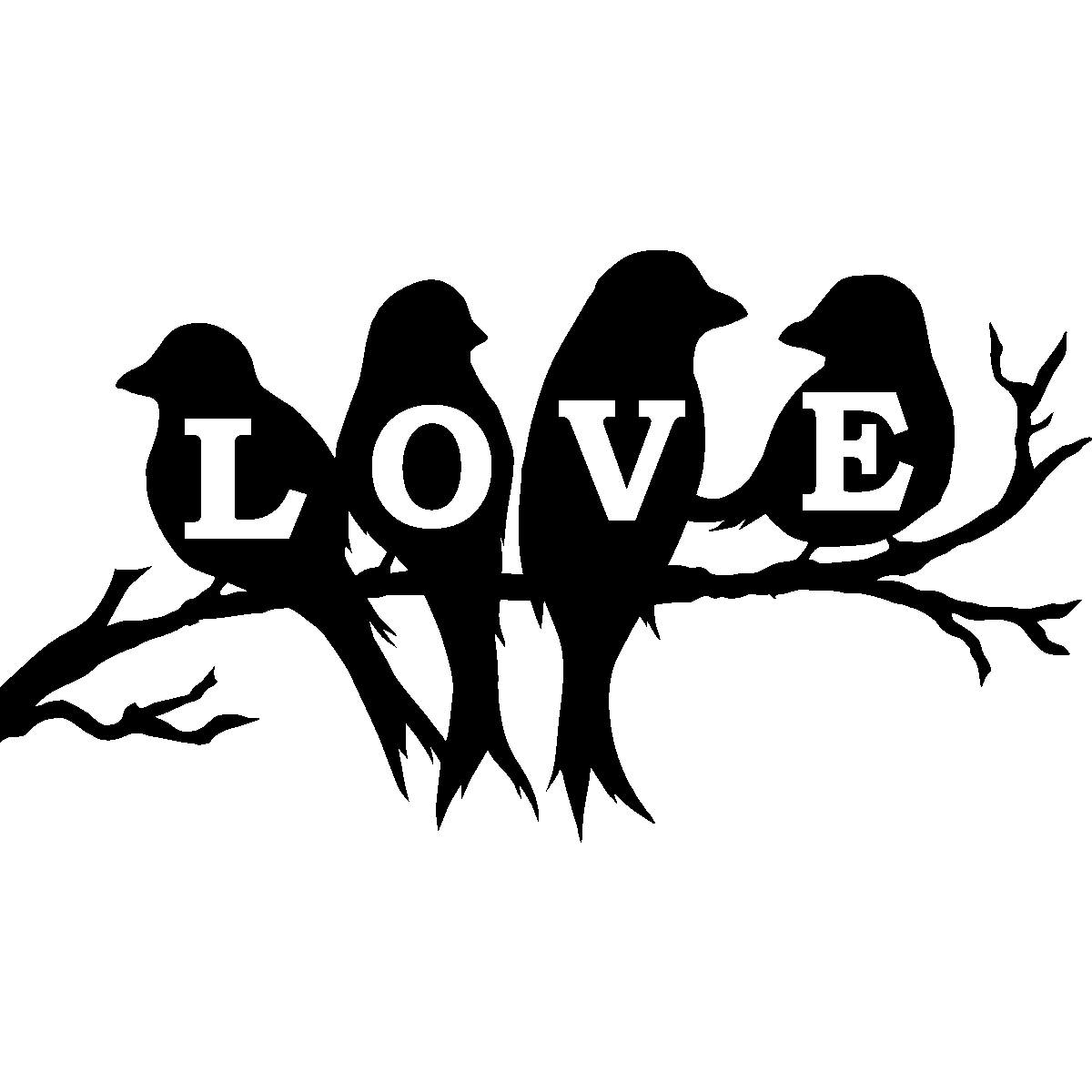 sticker love 4 oiseaux sur la branche stickers animaux oiseaux ambiance sticker. Black Bedroom Furniture Sets. Home Design Ideas