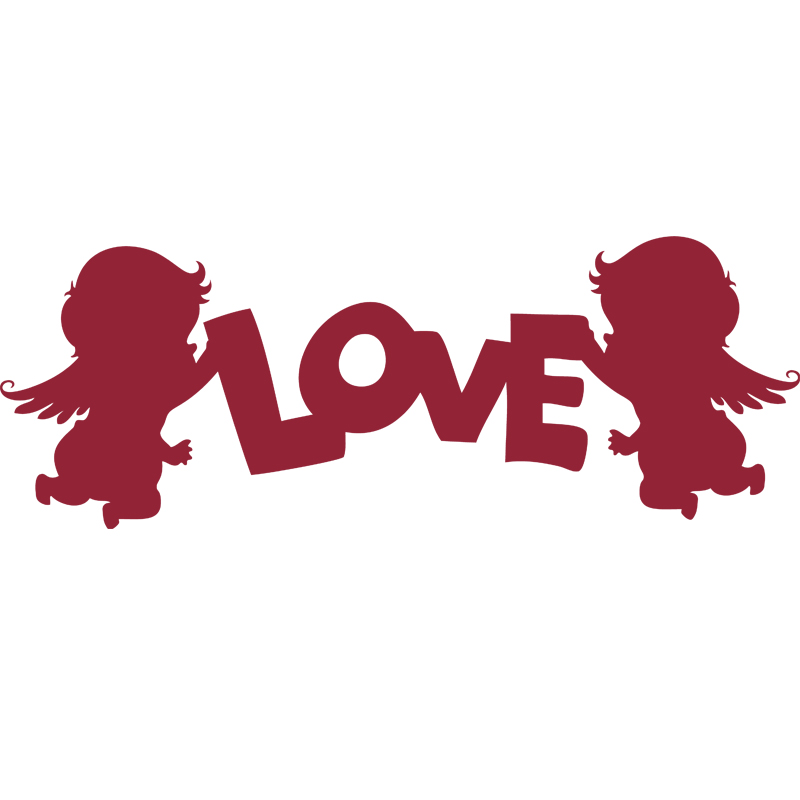 Stickers muraux pour chambre sticker mural love cupids for Stickers chambre love
