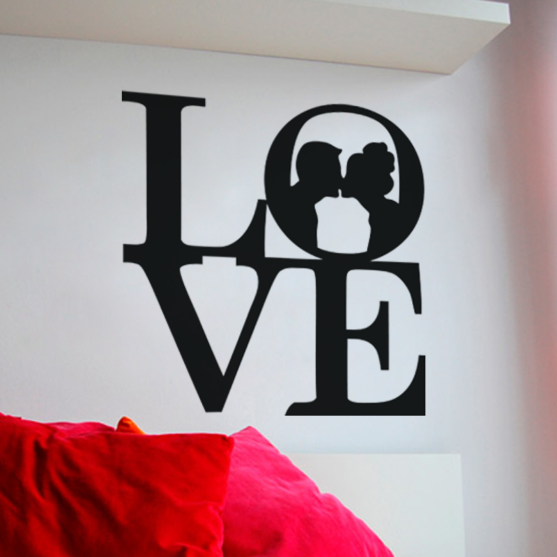Stickers muraux pour chambre sticker mural love kiss for Stickers chambre love