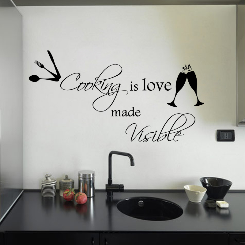 stickers muraux citations sticker love of cooking. Black Bedroom Furniture Sets. Home Design Ideas