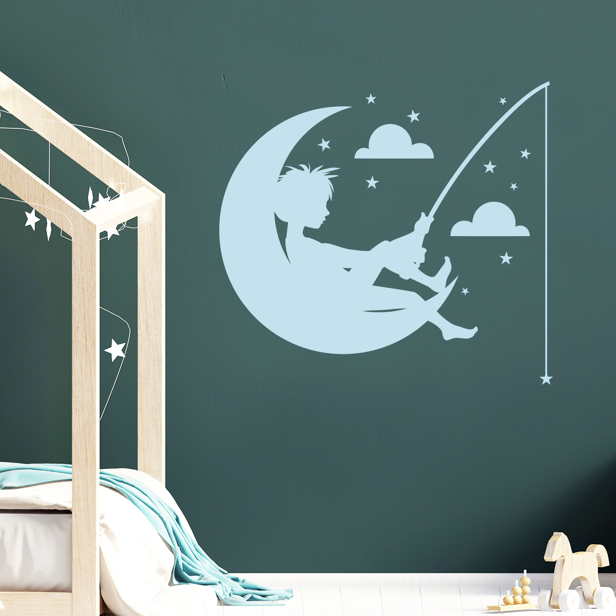sticker lune toiles nuage enfant p chant stickers. Black Bedroom Furniture Sets. Home Design Ideas